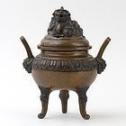 Antique Japanese Bronze Censer with Qilin, Meiji (1868-1912).