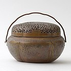 A Chinese Oval Copper Handwarmer with Openwork, Qing.