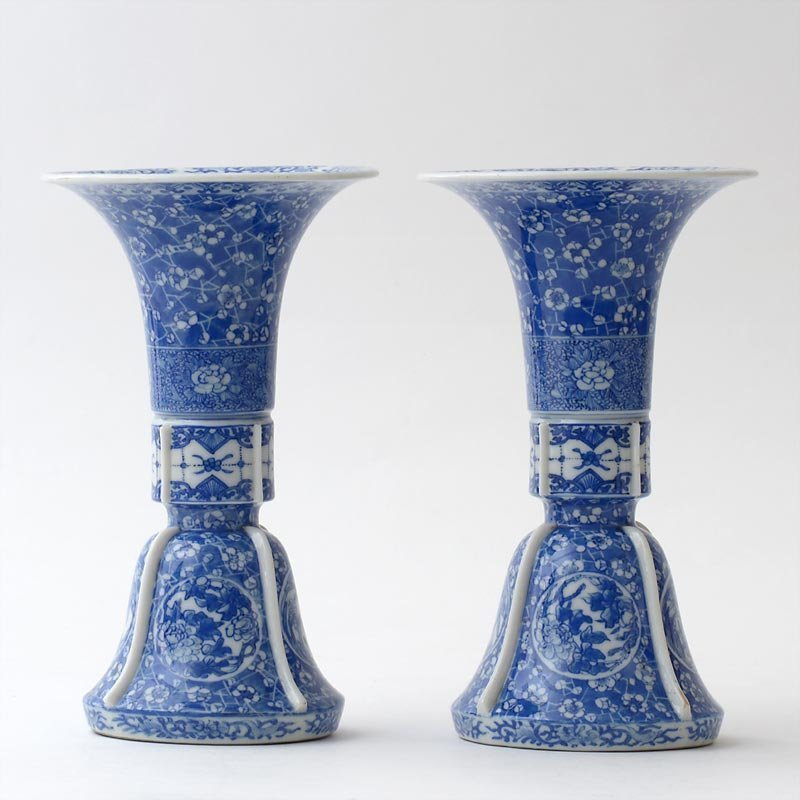 Pair of Japanese Blue & White Seto Porcelain Vases by Kato Zenji III.