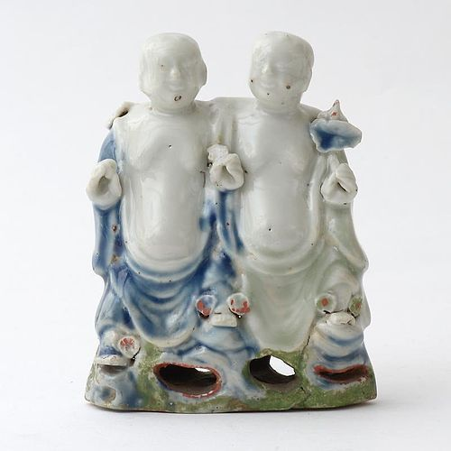 Rare Chinese Export Porcelain Group of Hehe Erxian Twins, Qianlong.