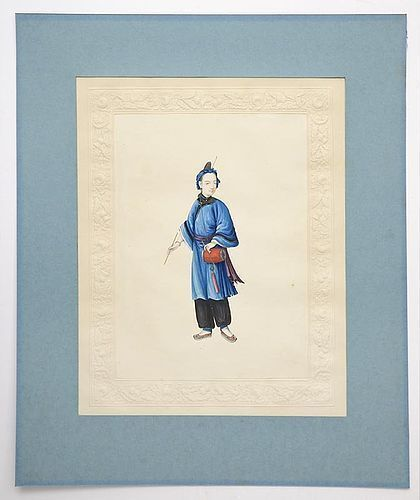 Fine Chinese Trade Painting on Paper of a Manchu Lady, Early 19th C.