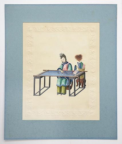 Fine Chinese Trade Painting on Paper of an Embroiderer, Early 19th C.