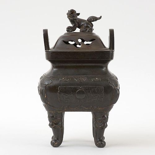 """Large Chinese Bronze Censer """"Fangding"""" with Cover, 17th/18th C."""