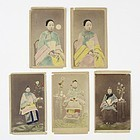 Five Rare Chinese Hand-Colored Albumen Photographs CdV, 1860's.