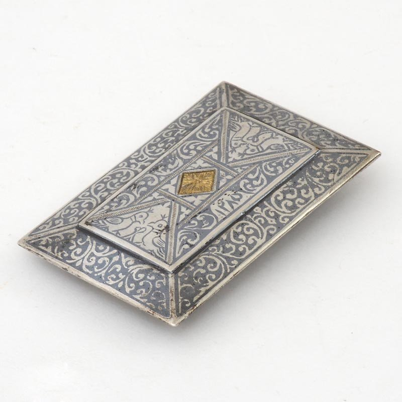 Antique Caucasian Silver Niello Belt Buckle with Gilding, Dated 1868.