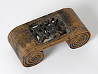 Antique Chinese Scholar's Wood Brush Rest in Scroll Form, 18th/19th C.