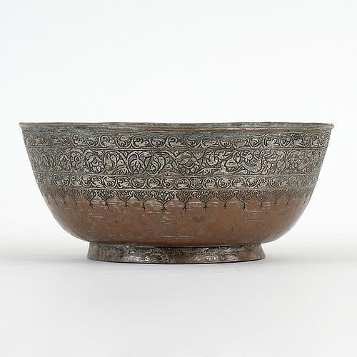 Persian Tinned Copper Bowl w. Flower Scrolls and Birds, 19th C.