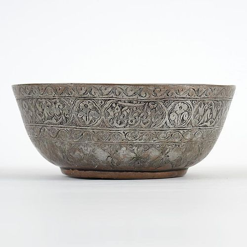 Persian Tinned Copper Bowl w. Flowers and Calligraphy, 19th C.