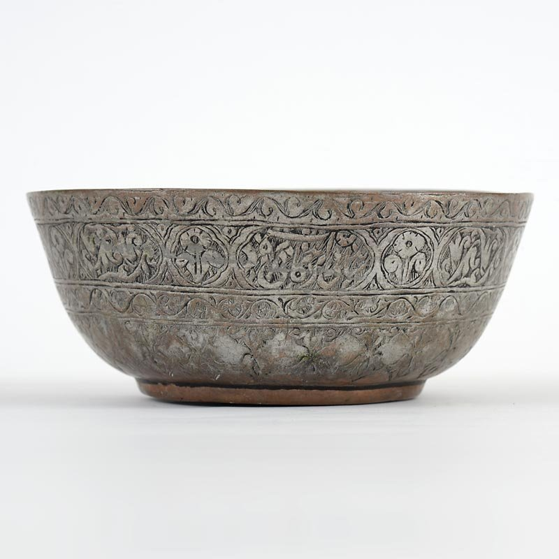 Persian Tinned Copper Bowl w. Flowers and Calligraphy, 18/19th C.