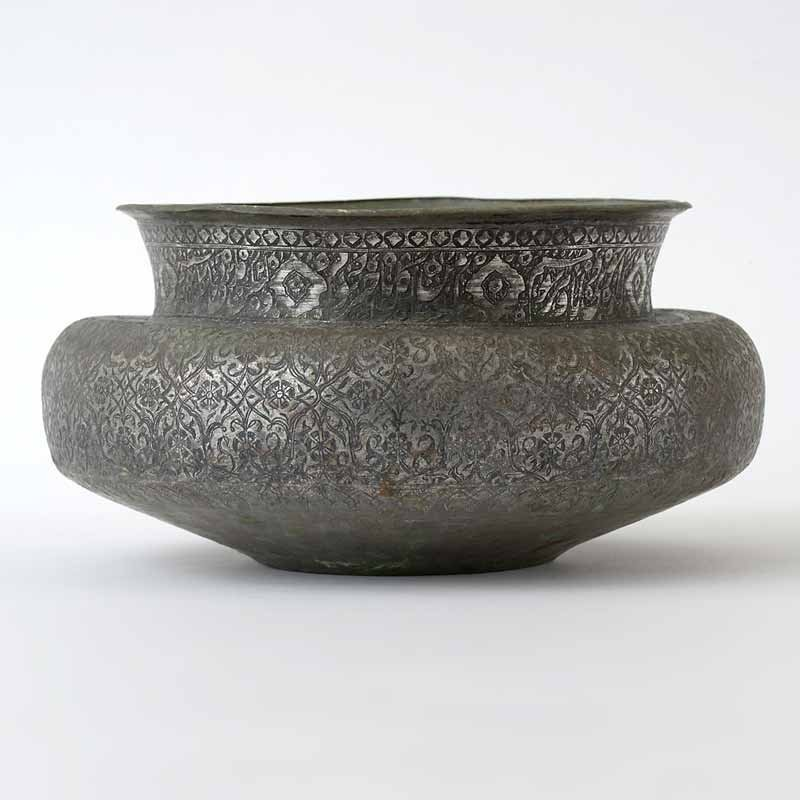 Antique Large Persian Tinned Copper Wine Bowl, 18/19th C.