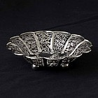 Chinese Pierced Export Silver Presentation Dish, by Wang Hing.