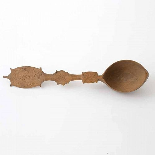 Large Persian Carved Wooden Sherbet Spoon, 19th C.