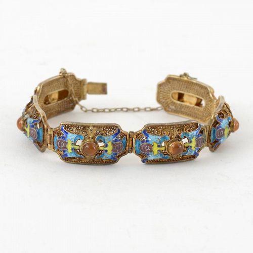 Vintage Chinese Vermeil Silver Filigree Bracelet w. Bats in Enamel.