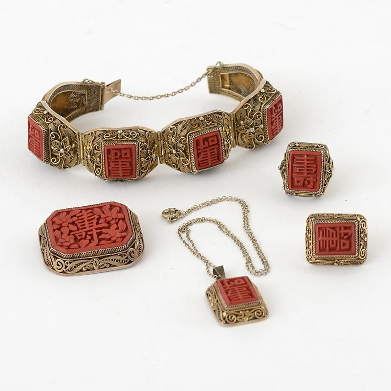 Chinese Vermeil Silver Filigree Jewelry Set w. Carved Cinnabar Lacquer