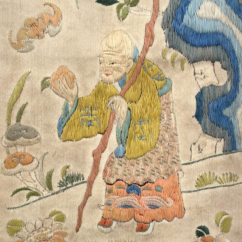 Single Chinese Embroidered Sleeve Band w. Lucky Gods, Early 19th C.