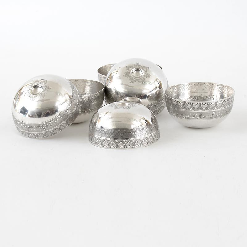 An Antique Set of 6 Islamic Silver Bowls with Arabic Inscription.