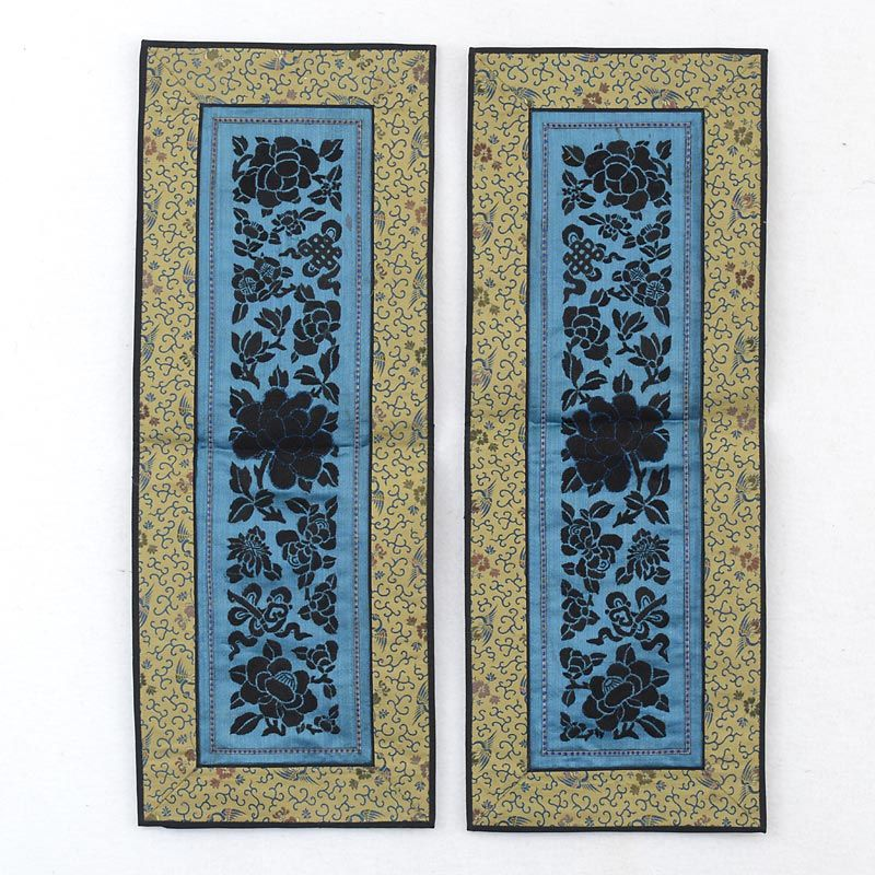 A Pair Chinese Silk Sleeve Bands with Black Embroidery, late Qing.