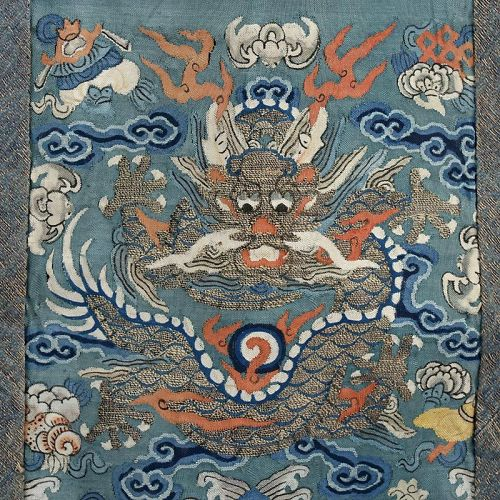 Rare Chinese Quasi-Official Kesi Silk Tapestry Skirt Apron, Mid 19th C