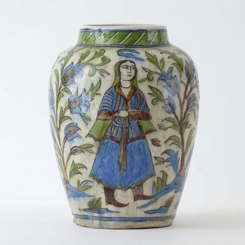 An Antique Persian Qajar Pottery Jar, 19th C.