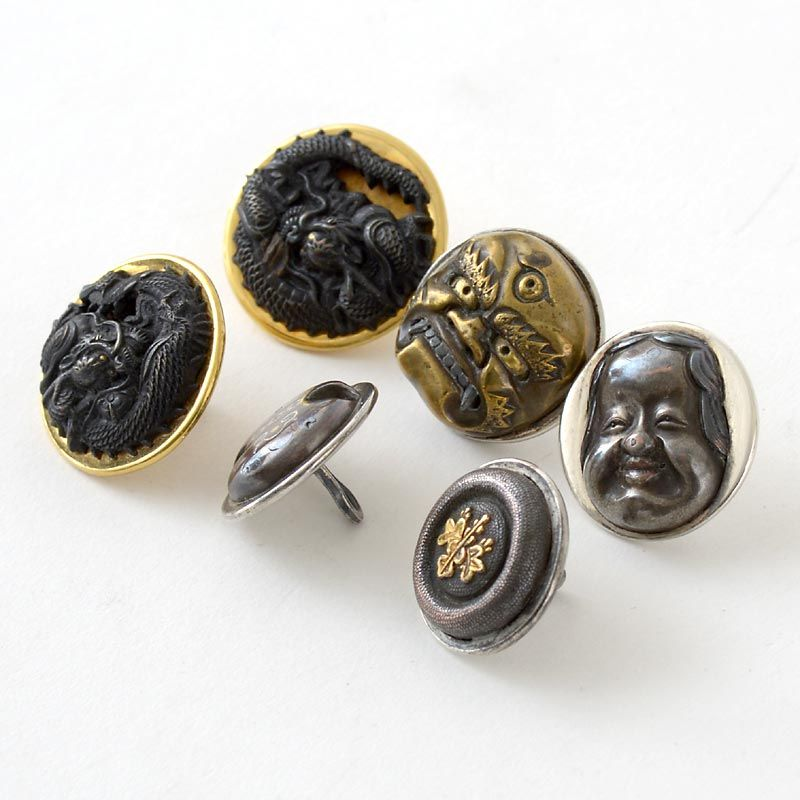 Collection of Six Japanese Mixed Metal Buttons, Meiji.