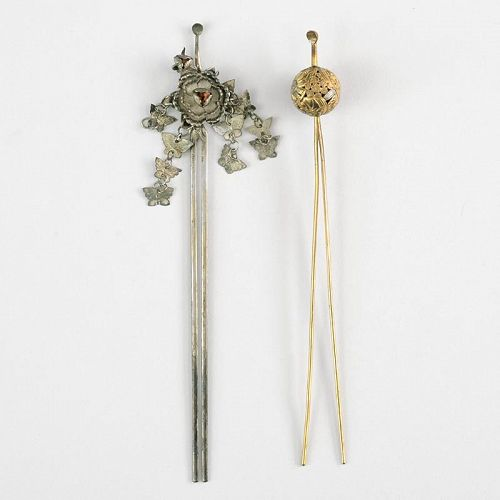 Two Antique Japanese Kanzashi Hairpins.