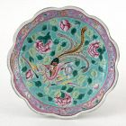 A Straits Chinese Porcelain Offering Dish w. Phoenix & Peony, 19th C.