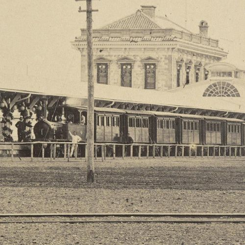 Albumen Photograph of Shimbashi Railway Station, Japan c. 1872.