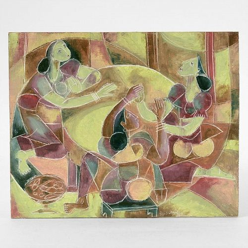 Asian Cubist Painting of Three Women, 20th C.