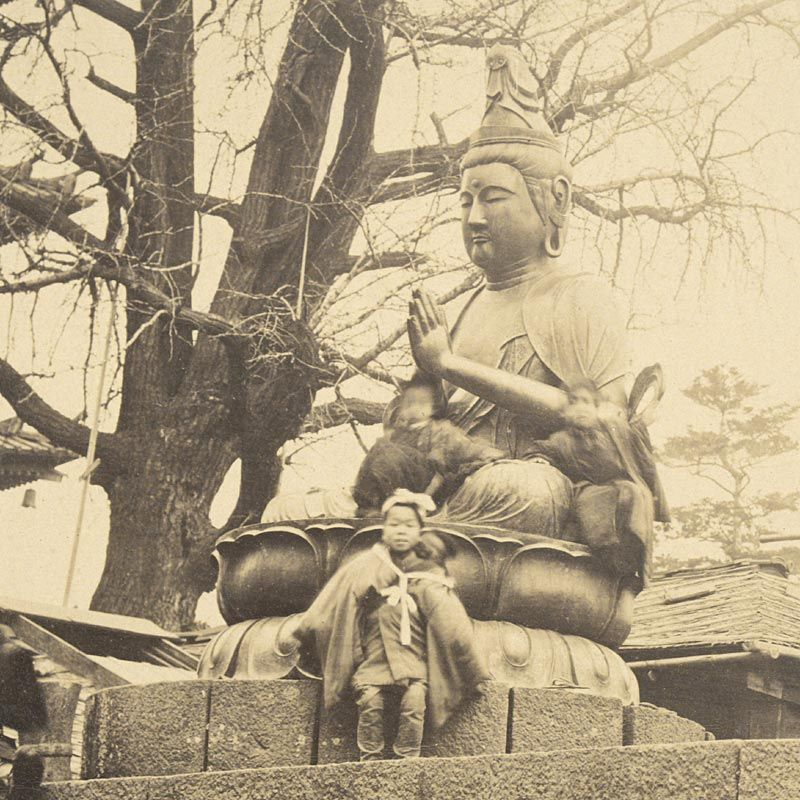 Albumen Photograph of Bronze Bosatsus at Senso-ji in Asakusa, 1870/80.