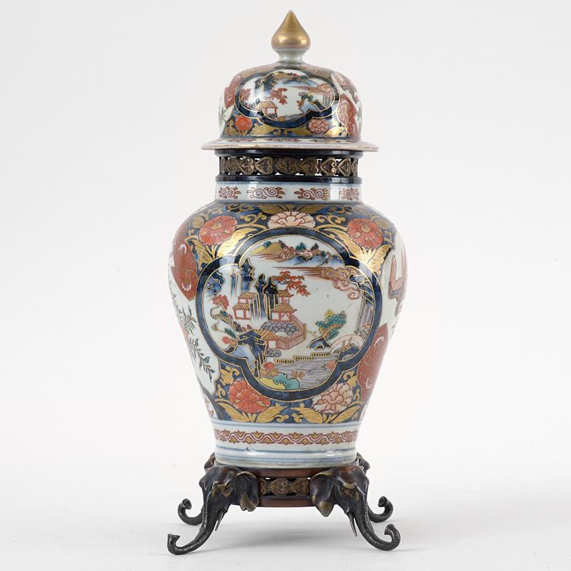 Japanese Imari Porcelain Vase & Cover with Bronze Mounts, Edo.
