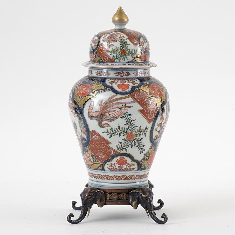 Japanese Imari Porcelain Vase & Cover with Bronze Mounts, Edo.