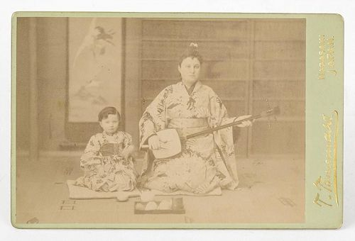 Antique Photograph Cabinet Card of Mother w. Child by Tamemasa.