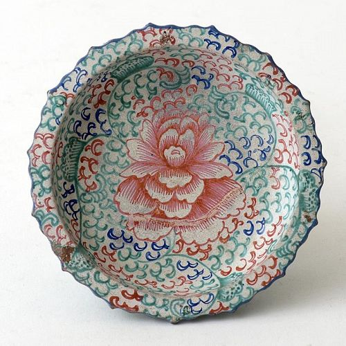 Rare Small Chinese Enamelled Stoneware Tazza, 19th C.