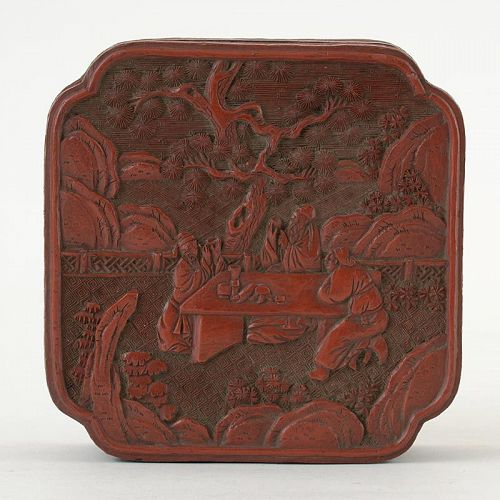 Antique Chinese Carved Cinnabar Lacquer Box with Scholars, Qing.