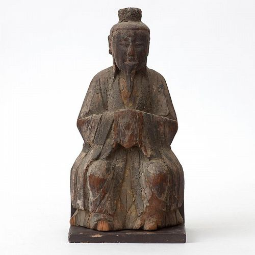 Chinese Wood Sculpture of a Daoist Immortal, Ming Dynasty.