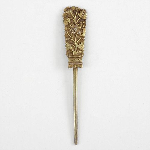 Antique Chinese Gilt Silver Hairpin, Marked.