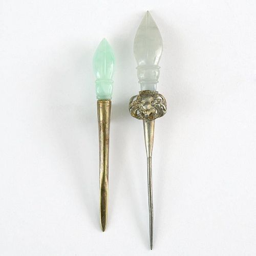Two Old Chinese Gilt Hairpins with Jade.
