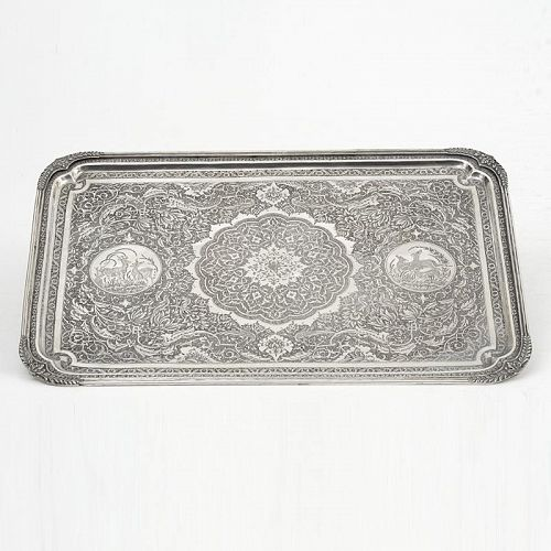 Old Islamic Persian Solid Silver Tray with Deers, Marked.