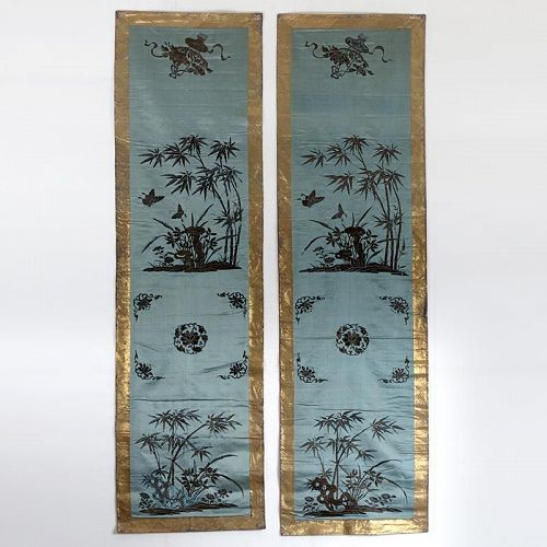 Pair of Chinese Embroidered Silk Chair Covers w. Peking Knot, 19th C.