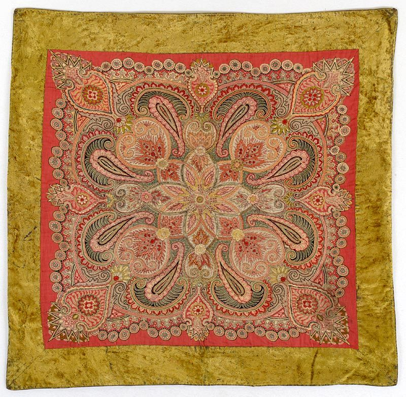 Antique Indo-Persian Silk Embroidered Wool Cover in Kashmir Style.