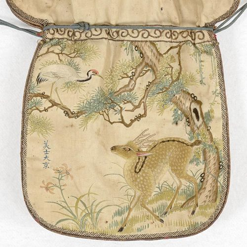 Rare Chinese Finely Embroidered Silk Purse with Deer, 18th / 19th C.