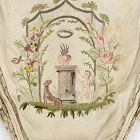 Silk Reticule Embroidered with Cupid and Monogram, 18th / Early 19th.