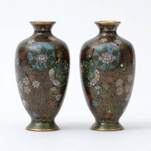 A Pair Fine Kyoto Shippo Cloisonné Vases by Takahara, Meiji Period.