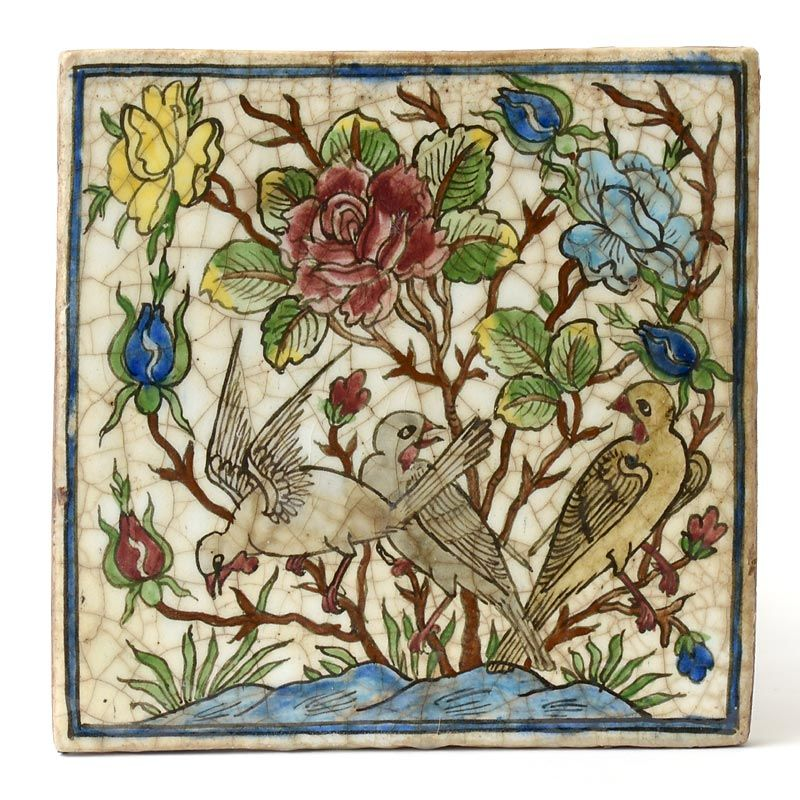 Large Antique Persian Ceramic Tile with Birds and Roses.