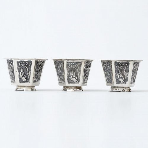 "Three Small Chinese Export Silver Cups Marked ""KC"", 19th C."