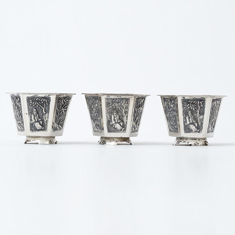 """Three Small Chinese Export Silver Cups Marked """"KC"""", 19th C."""