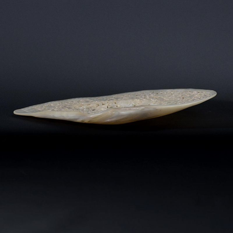Chinese Pierced Mother of Pearl Shell Plaque with Magu, c. 1900.