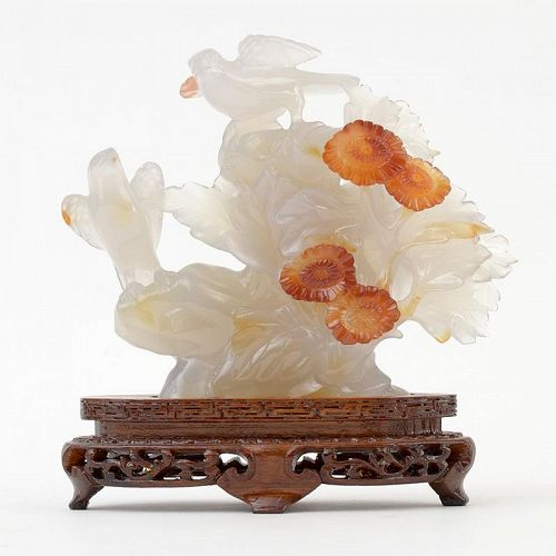 Old Chinese Agate Carving Group of Birds with Flowers, c. 1950.
