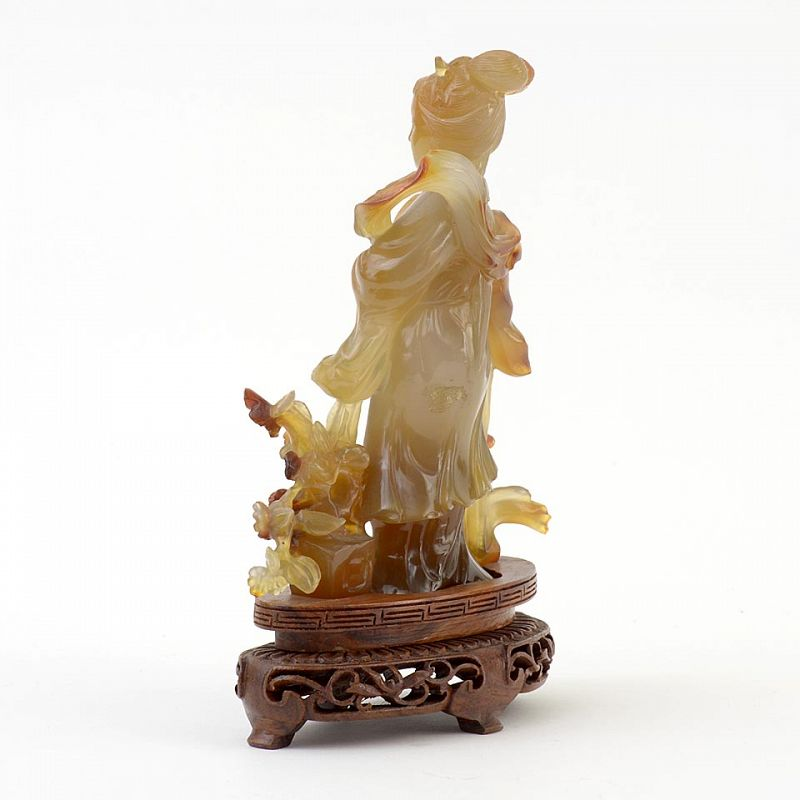 Old Chinese Agate Carving of Taoist Immortal Magu, c. 1950.