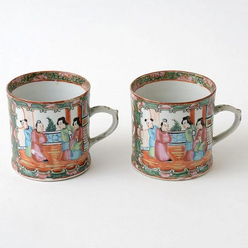 "Pair of Chinese Export Porcelain ""Canton rose"" Mugs, late 19th C."